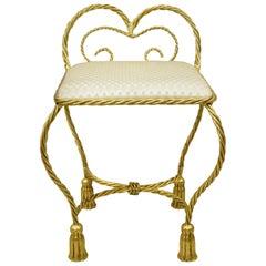 20th Century Hollywood Regency Gold Gilt Iron Rope Tassel Small Vanity Chair
