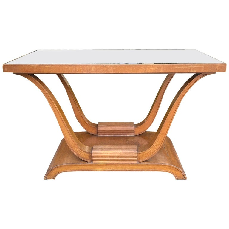 20th Century Hollywood Regency Mahogany Console with Inset Black Mirror Glass For Sale