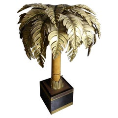 20th Century House Jansen Brass and Bamboo Palm Tree Lamp, 1970s