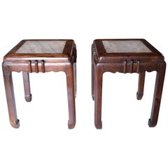20th Century Huali and Marble Stools