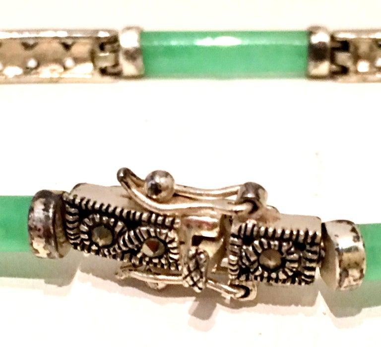20th Century 925 Sterling Jadeite & Marcasite Link Bracelet For Sale 3