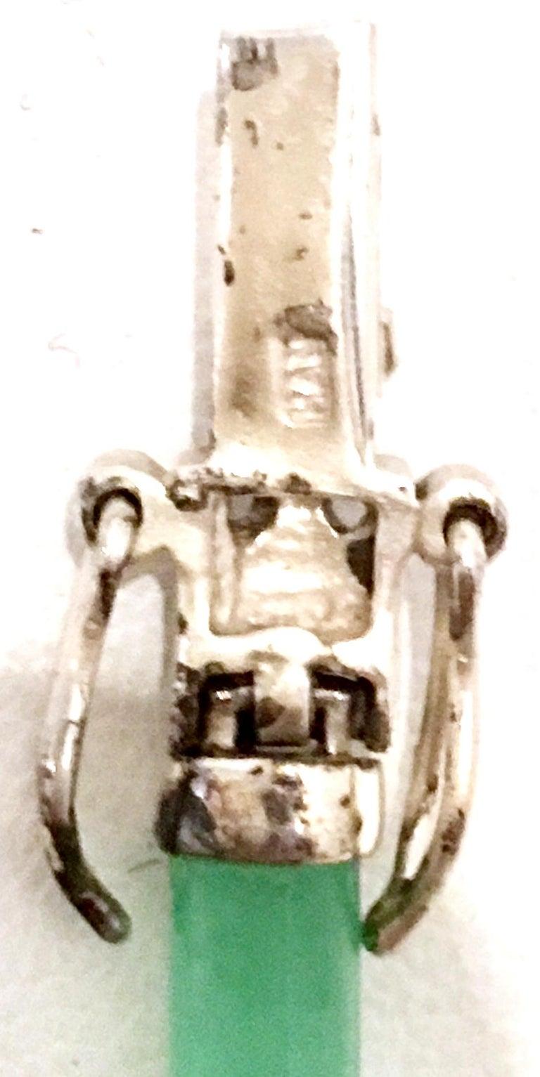 20th Century 925 Sterling Jadeite & Marcasite Link Bracelet For Sale 6