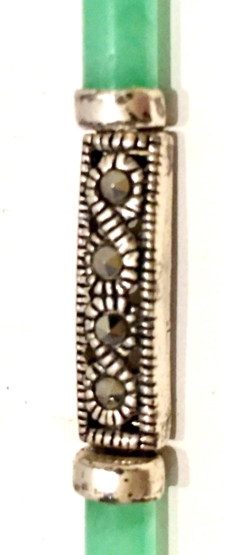 20th Century 925 Sterling Jadeite & Marcasite Link Bracelet For Sale 5