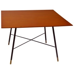 20th Century Ico Parisi Coffee Table in Brass with Squared Wood top from 1950s