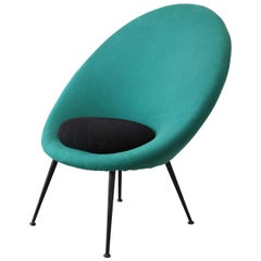 20th Century Ico Parisi 'in the style of' Round Armchair with Green Upholstery