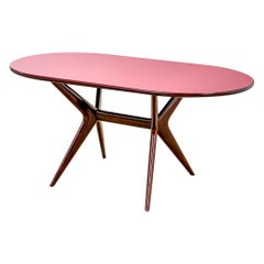 20th Century Ico Parisi Table in Wood and Glass Produced by Fratelly Rizzi