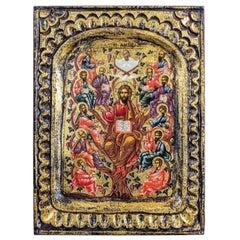 20th Century Icon of Jesus and the Twelve Apostles