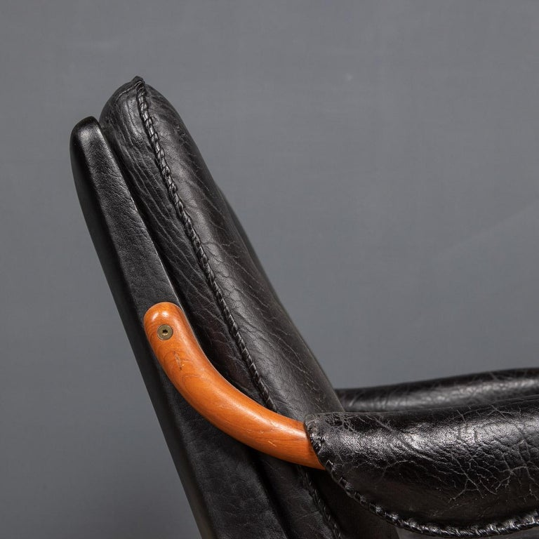 20th Century Ikea Black Leather & Teak Chair, 1960s For Sale 7