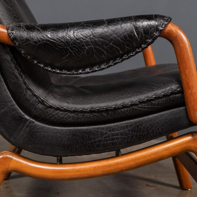 20th Century Ikea Black Leather & Teak Chair, 1960s For Sale 8