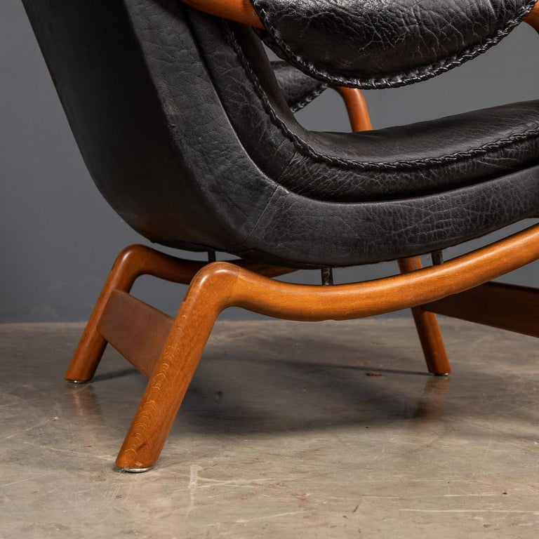 20th Century Ikea Black Leather & Teak Chair, 1960s For Sale 9