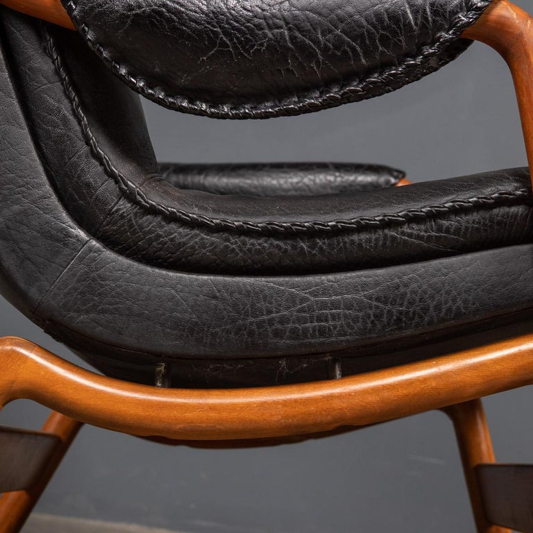 20th Century Ikea Black Leather & Teak Chair, 1960s For Sale 11