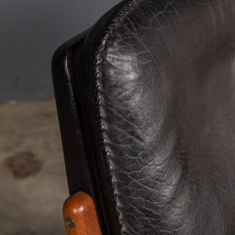 20th Century Ikea Black Leather & Teak Chair, 1960s For Sale 14