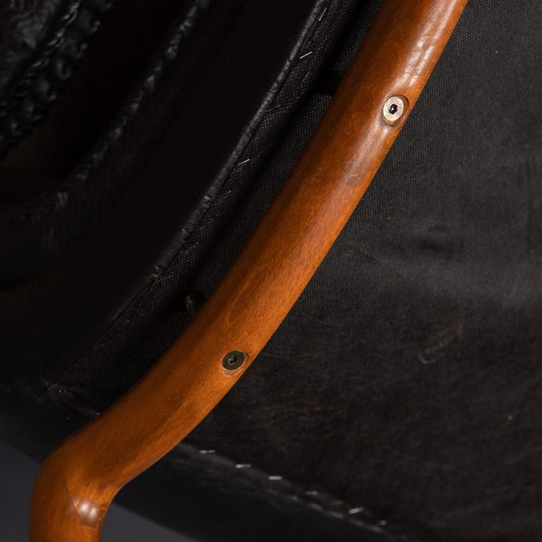 20th Century Ikea Black Leather & Teak Chair, 1960s For Sale 15