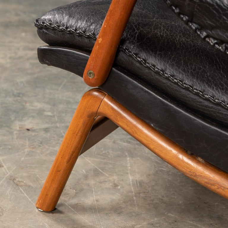 20th Century Ikea Black Leather & Teak Chair, 1960s For Sale 17