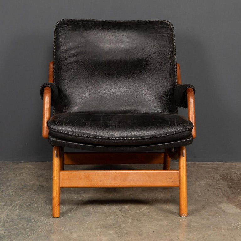 20th Century Ikea Black Leather & Teak Chair, 1960s In Good Condition For Sale In Royal Tunbridge Wells, Kent