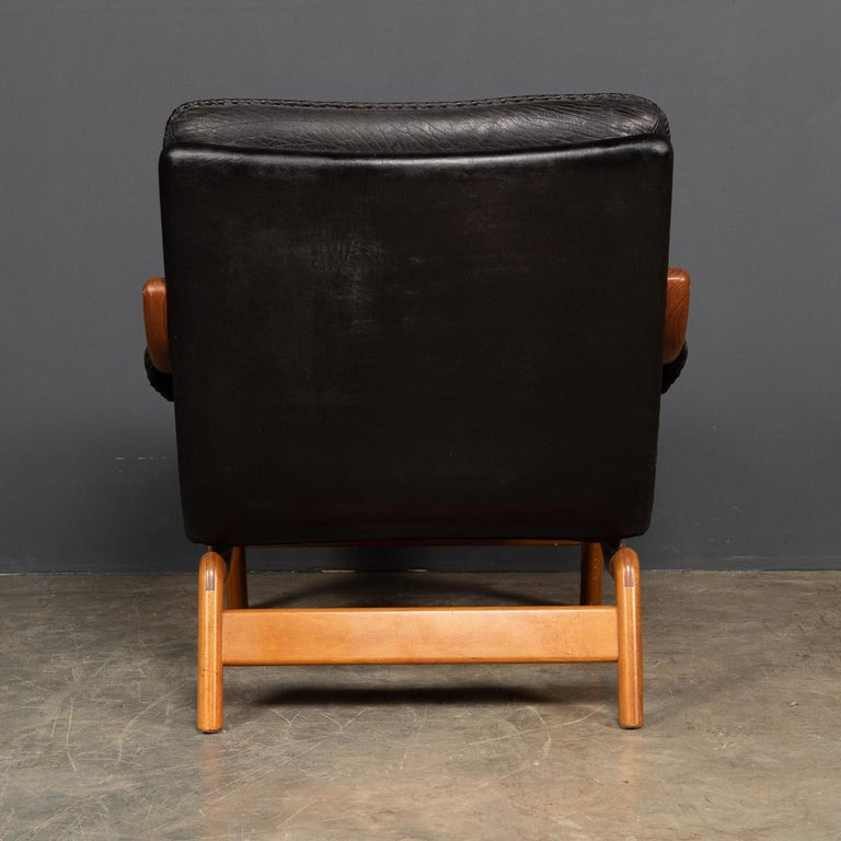 20th Century Ikea Black Leather & Teak Chair, 1960s For Sale 1