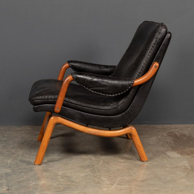 20th Century Ikea Black Leather & Teak Chair, 1960s For Sale 2