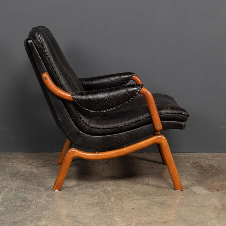20th Century Ikea Black Leather & Teak Chair, 1960s For Sale 3