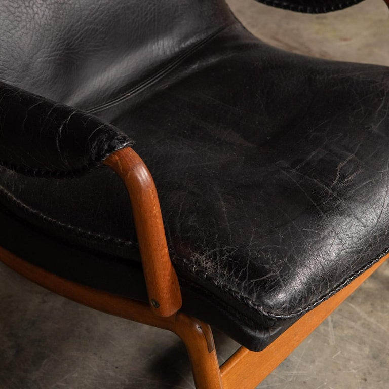 20th Century Ikea Black Leather & Teak Chair, 1960s For Sale 4