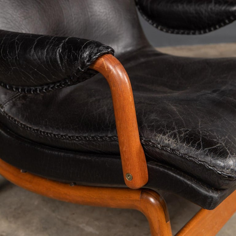 20th Century Ikea Black Leather & Teak Chair, 1960s For Sale 5
