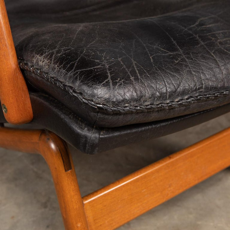 20th Century Ikea Black Leather & Teak Chair, 1960s For Sale 6