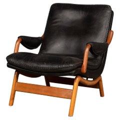 20th Century Ikea Black Leather & Teak Chair, 1960s