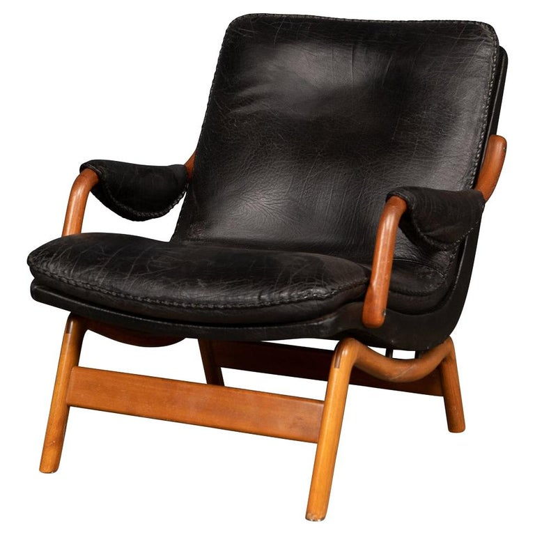 20th Century Ikea Black Leather & Teak Chair, 1960s For Sale