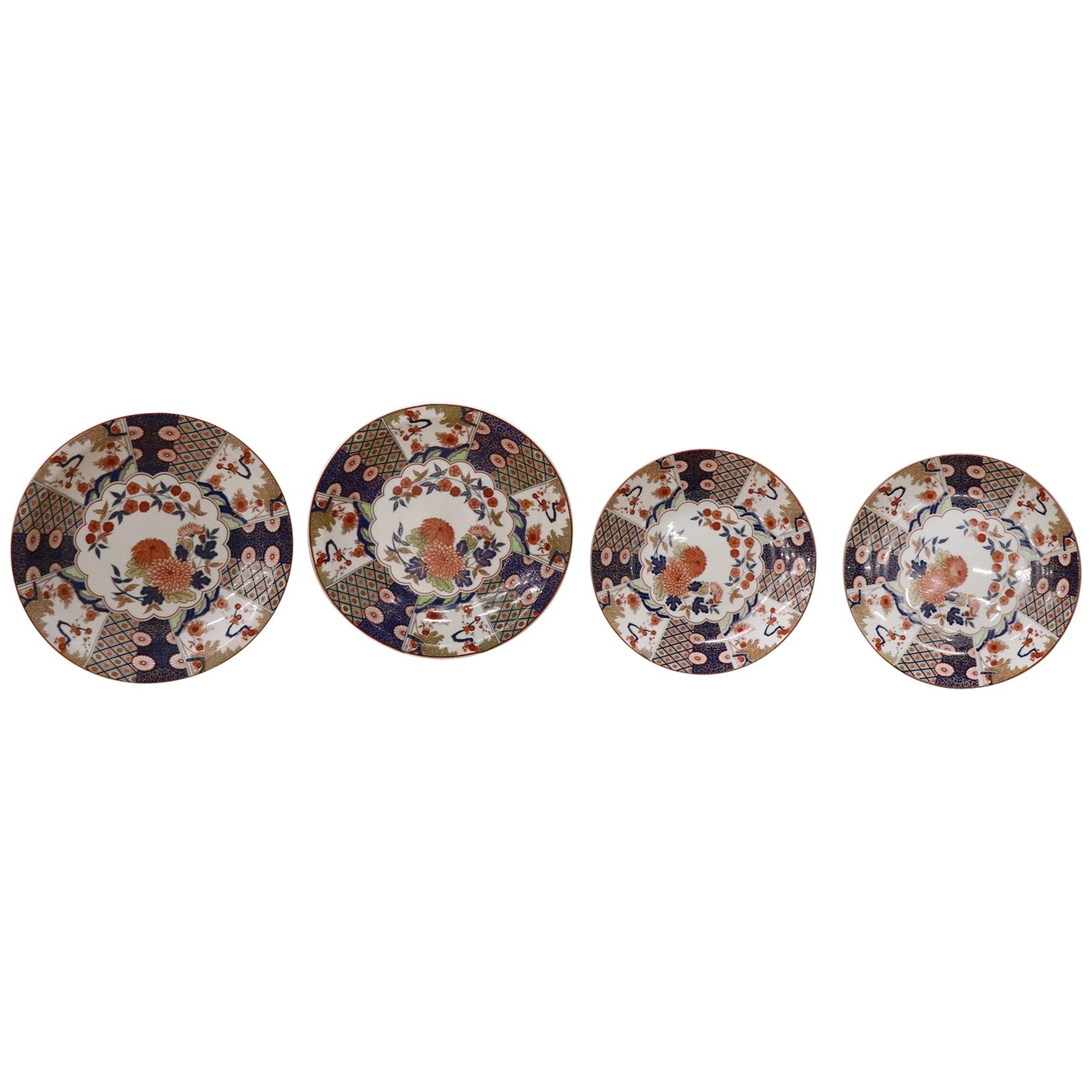20th Century Imari Porcelain Plate Signed with Red and Blue Flowers