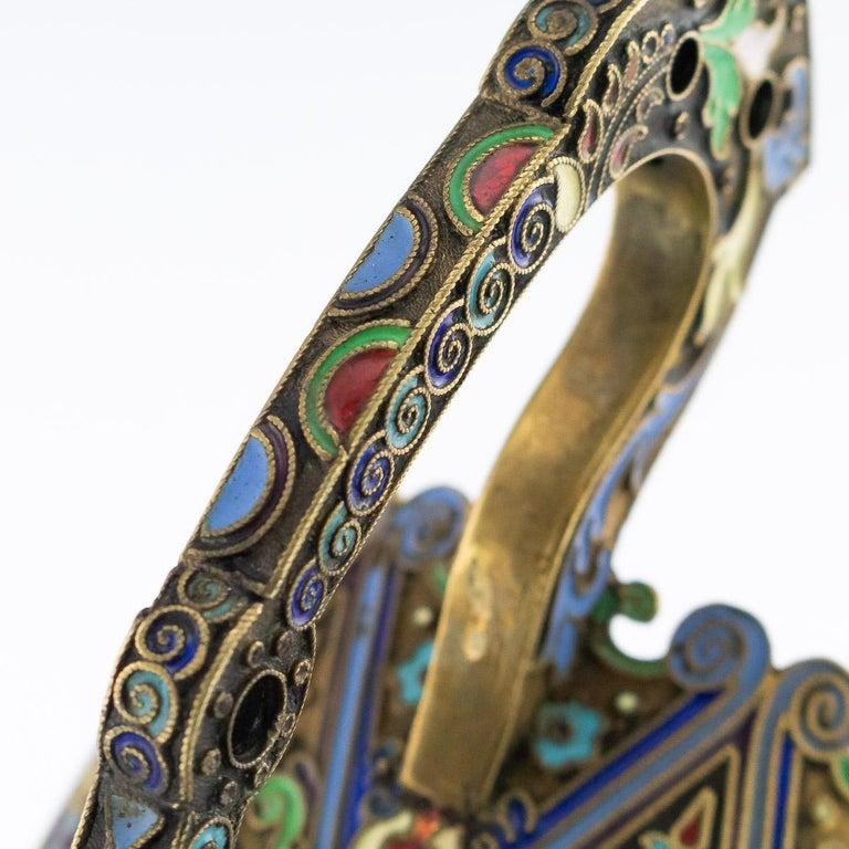 20th Century Imperial Russian Silver-Gilt Enamel Tea Glass Holder, circa 1910 10