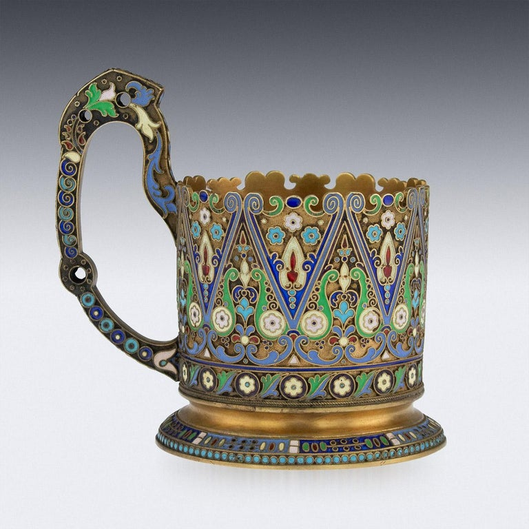 Cloissoné 20th Century Imperial Russian Silver-Gilt Enamel Tea Glass Holder, circa 1910