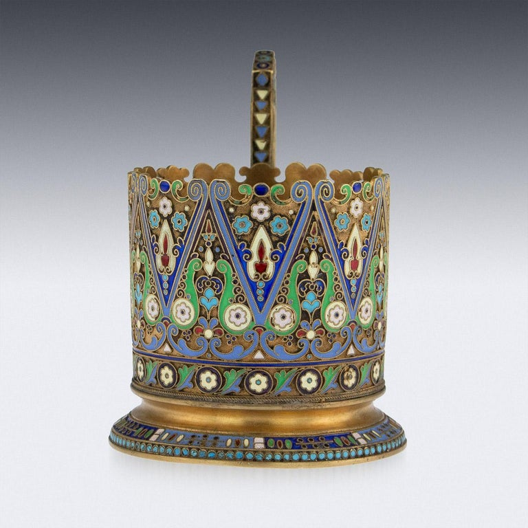 20th Century Imperial Russian Silver-Gilt Enamel Tea Glass Holder, circa 1910 In Good Condition In Royal Tunbridge Wells, Kent