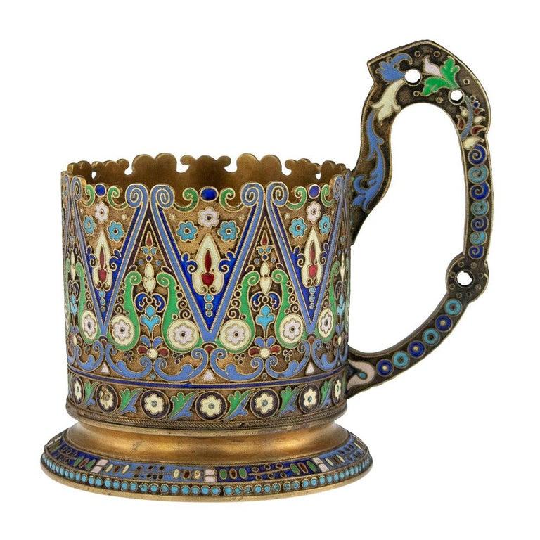 20th Century Imperial Russian Silver-Gilt Enamel Tea Glass Holder, circa 1910