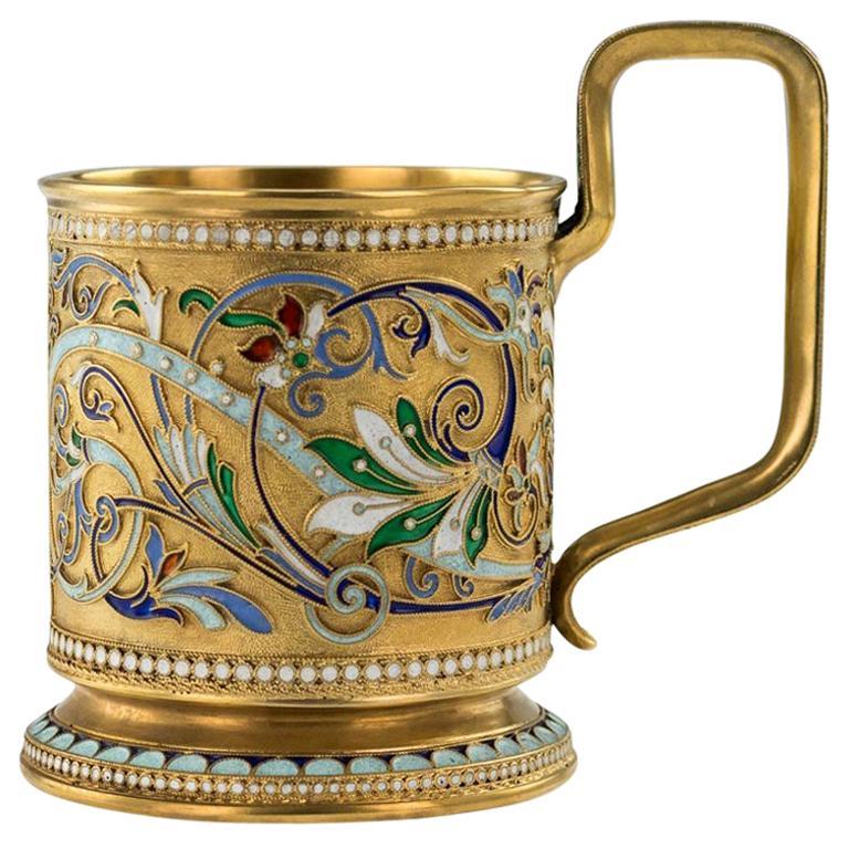 20th Century Imperial Russian Silver-Gilt Enamel Tea Glass Holder