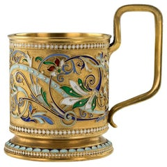 20th Century Imperial Russian Silver-Gilt Enamel Tea Glass Holder
