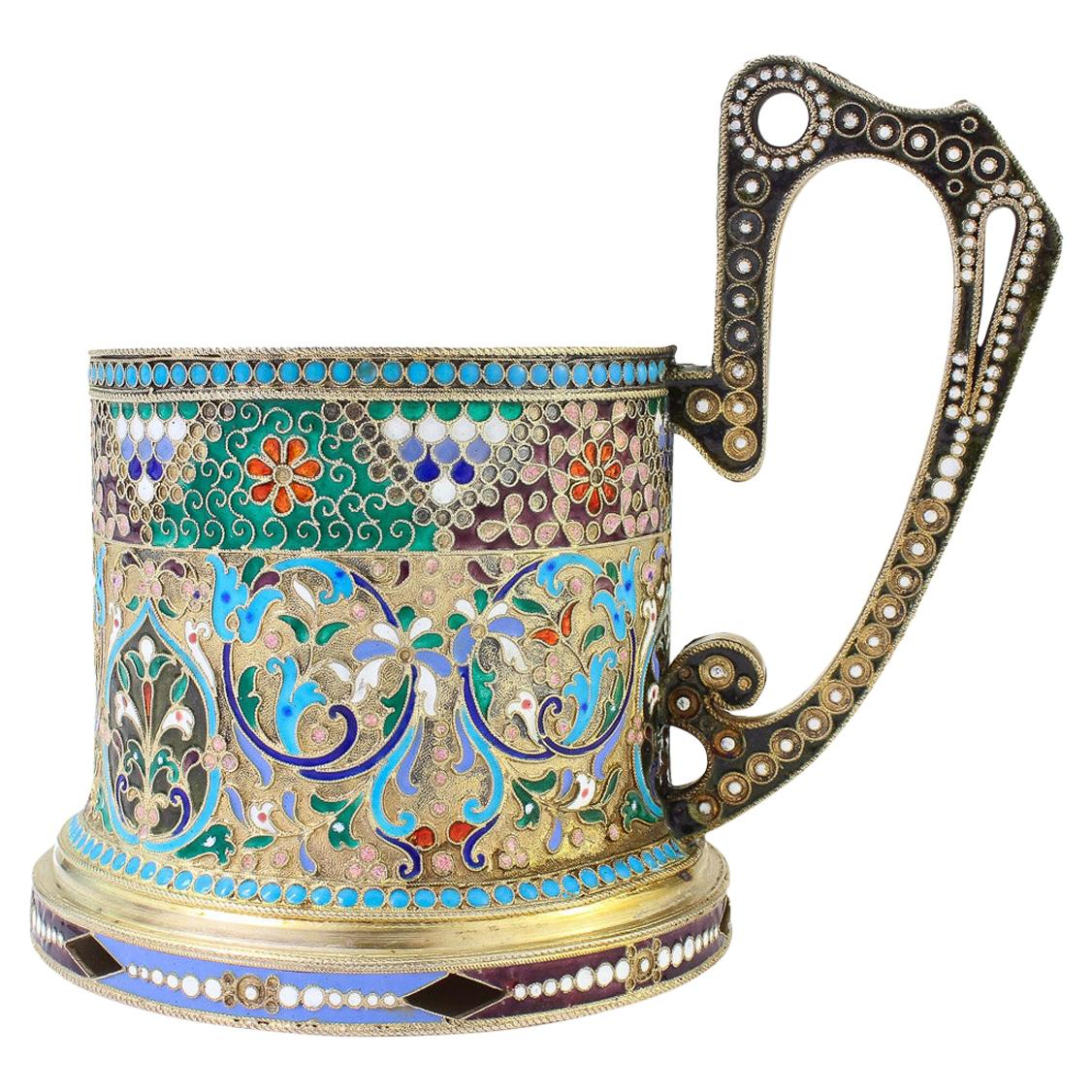 20th Century Imperial Russian Solid Silver-Gilt Enamel Tea Glass Holder, c.1900