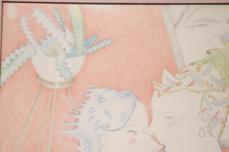 Mid-20th Century 20th Century Important Italian Artist Crayons on Paper by Luca Alinari For Sale