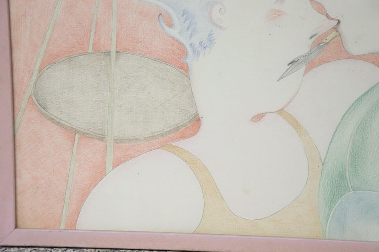 20th Century Important Italian Artist Crayons on Paper by Luca Alinari For Sale 2