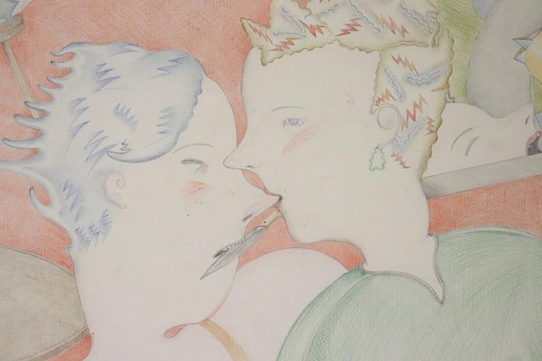 20th Century Important Italian Artist Crayons on Paper by Luca Alinari For Sale 3