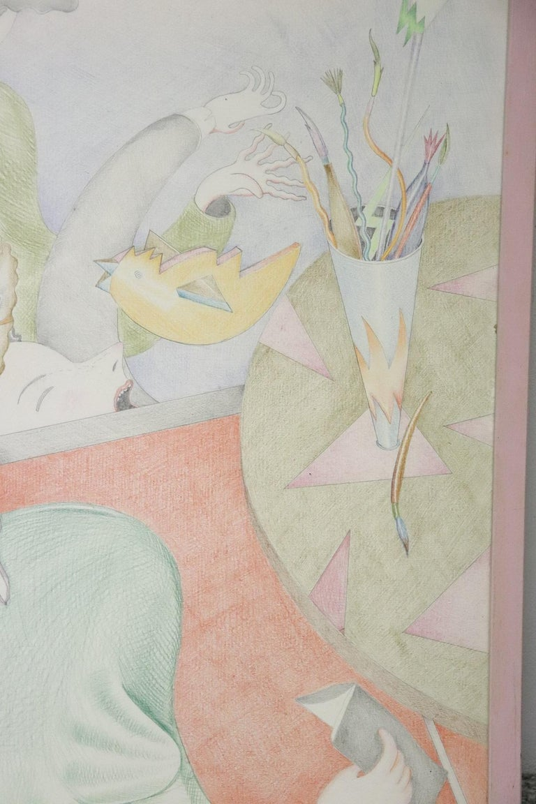 20th Century Important Italian Artist Crayons on Paper by Luca Alinari For Sale 4