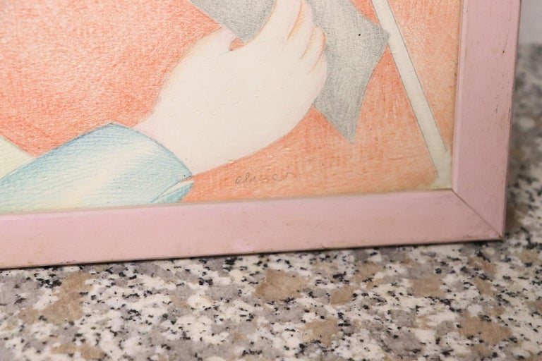 20th Century Important Italian Artist Crayons on Paper by Luca Alinari For Sale 5