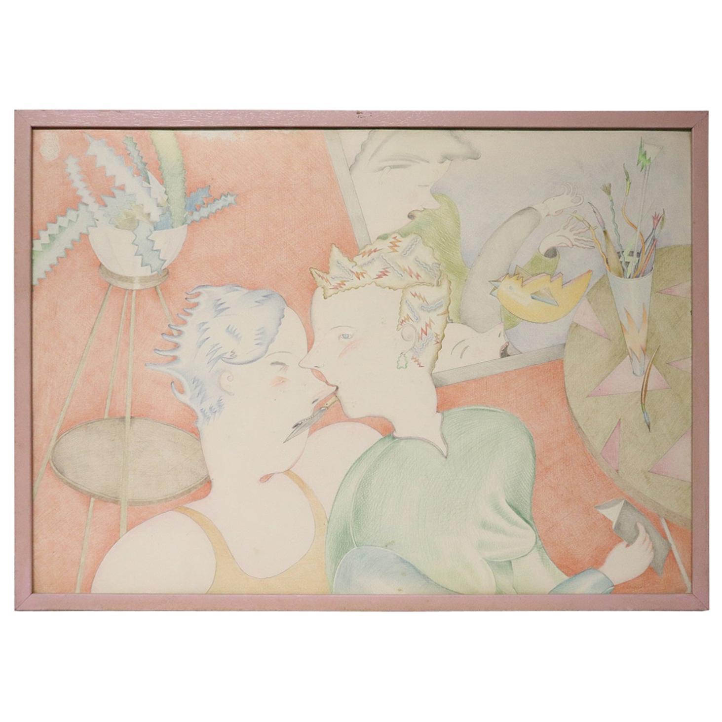 20th Century Important Italian Artist Crayons on Paper by Luca Alinari