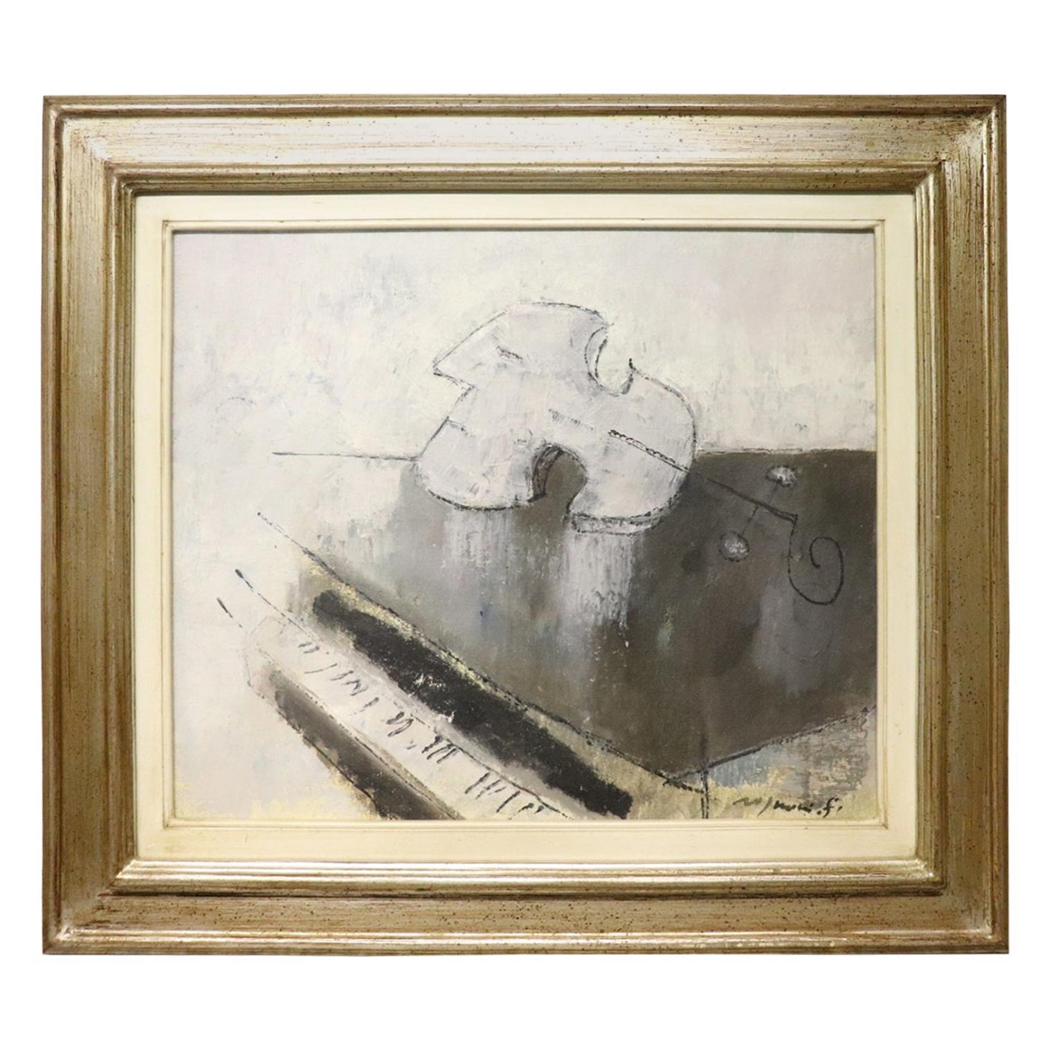 20th Century Important Italian Artist Oil on Canvas by Franco Rognoni