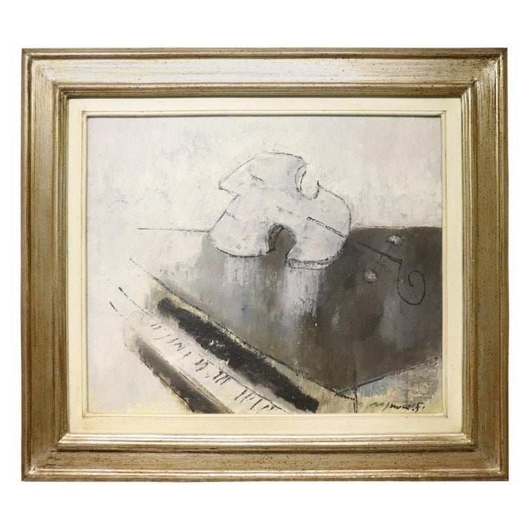 20th Century Important Italian Artist Oil on Canvas by Franco Rognoni For Sale