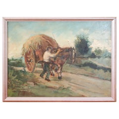 20th Century Important Italian Artist Oil Painting on on Wooden Board, Signed
