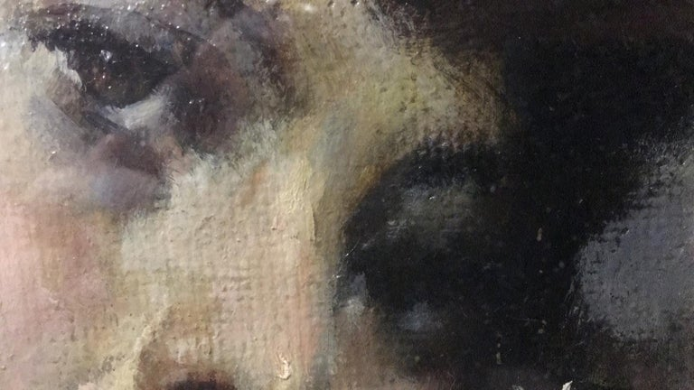 Oiled 20th Century Important Italian Artist Portrait of a Girl, Dated 1959s an Signed For Sale