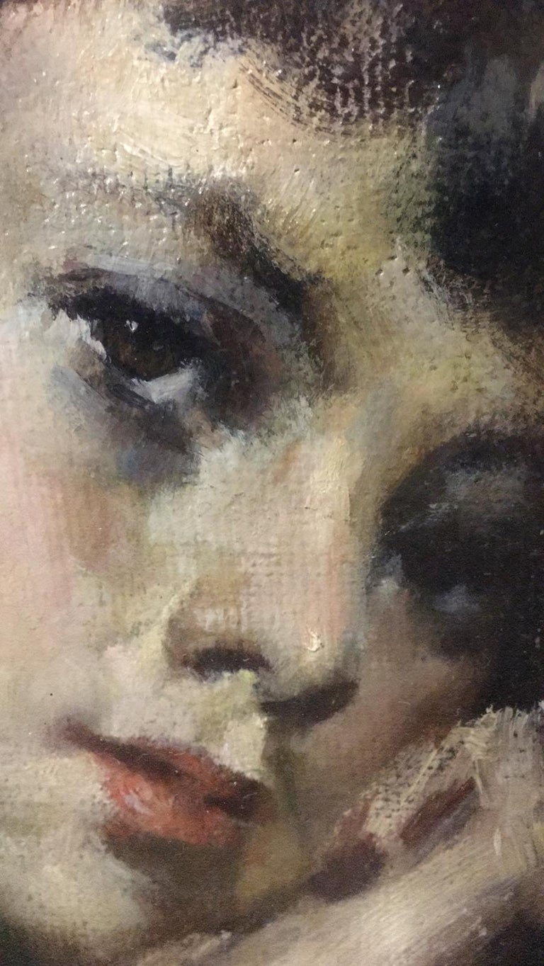 20th Century Important Italian Artist Portrait of a Girl, Dated 1959s an Signed In Good Condition For Sale In Bosco Marengo, IT