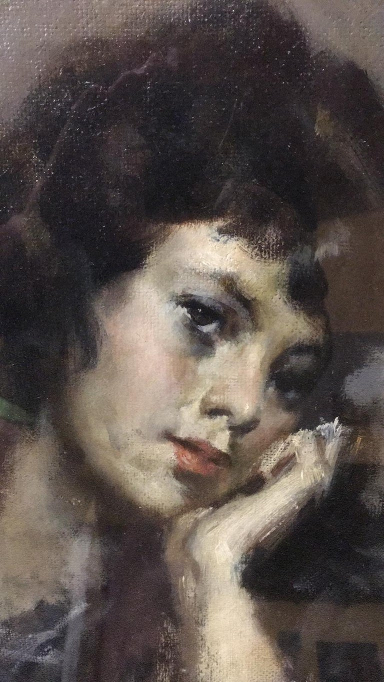 20th Century Important Italian Artist Portrait of a Girl, Dated 1959s an Signed For Sale 2