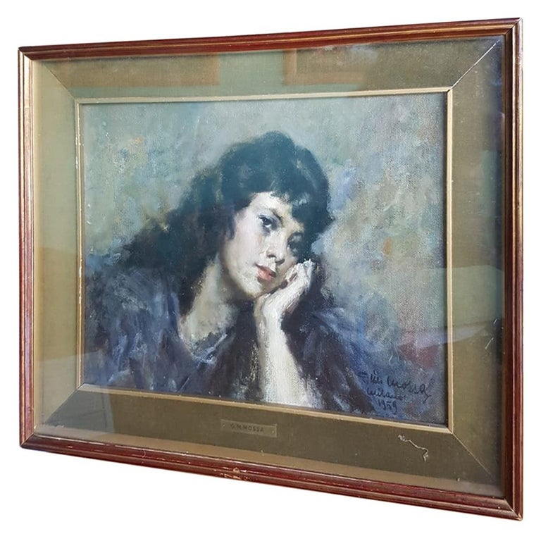 20th Century Important Italian Artist Portrait of a Girl, Dated 1959s an Signed For Sale