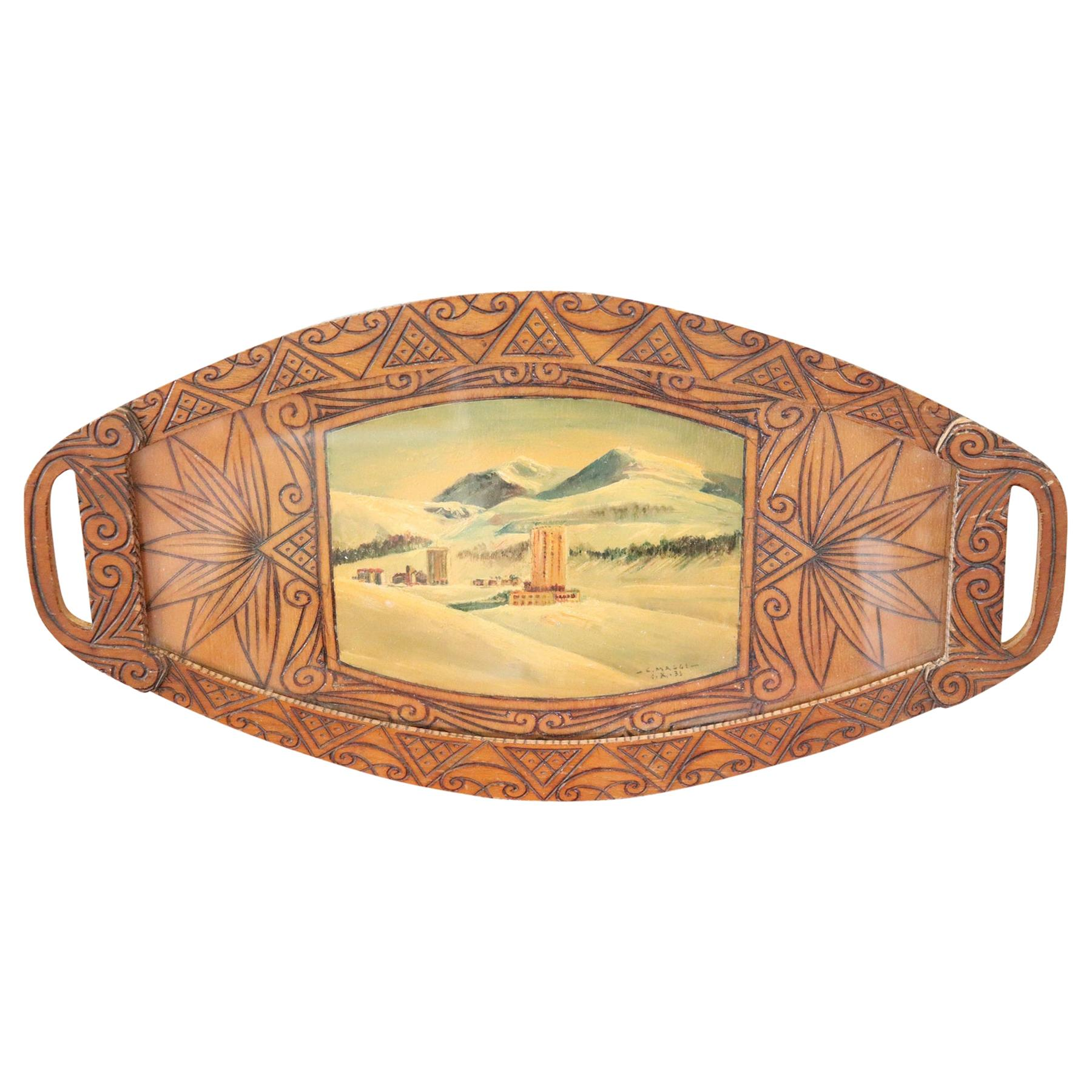 20th Century Important Italian Artist Tray with Painting, Cesare Maggi 1935s