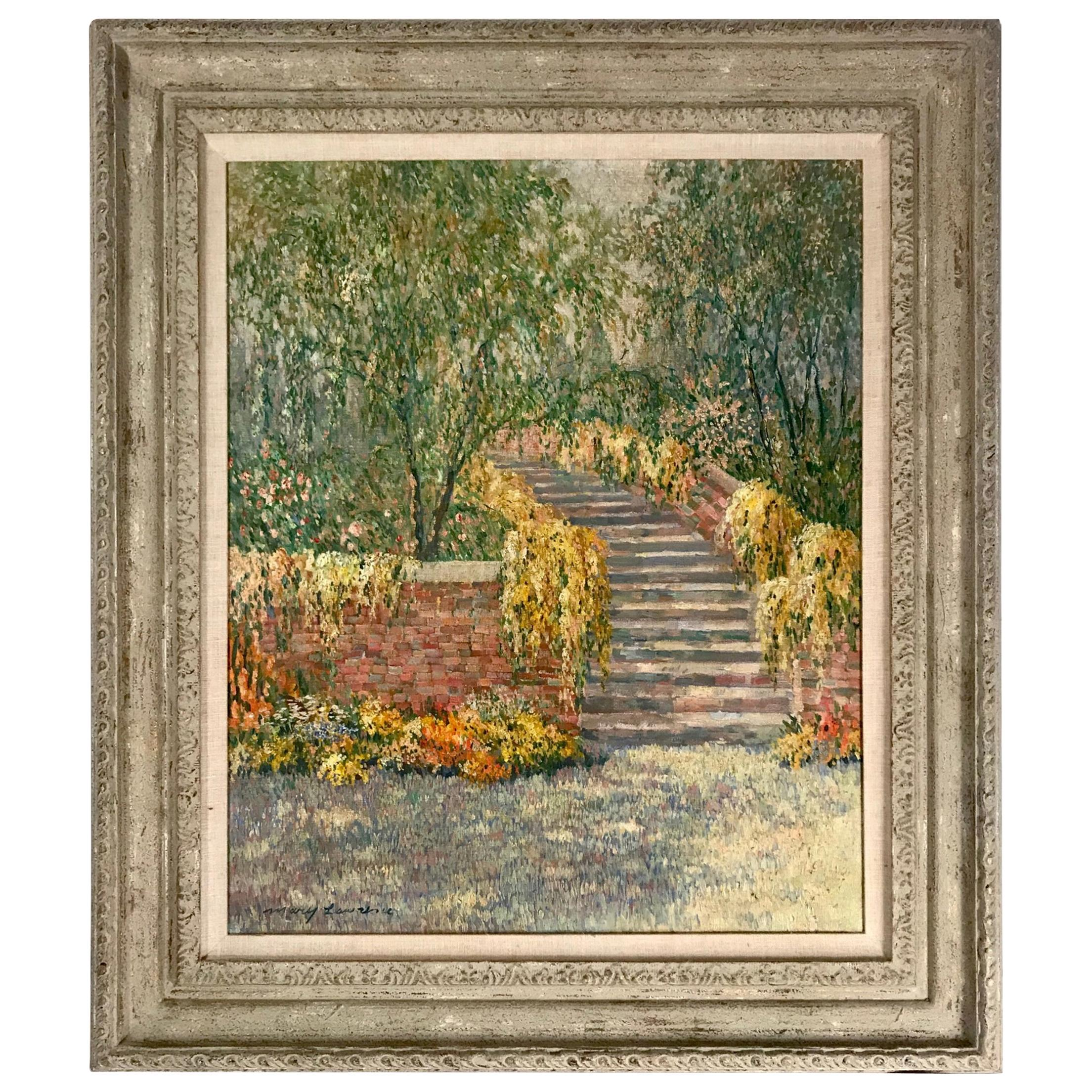 20th Century Impressionist Oil Painting Garden Landscape by Mary Lawrence